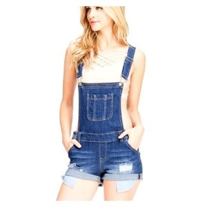 Wax Jeans Distressed Denim Short Overalls
